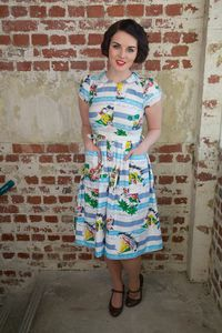 Short Sleeve Summer Dress In Seaside Print