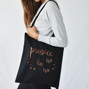 'Prosecco Ho Ho Ho' Christmas Tote Bag - copper gifts