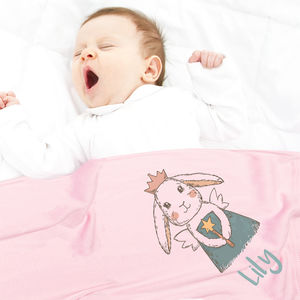 Personalised Baby Fleece Blanket Any Name Rabbit