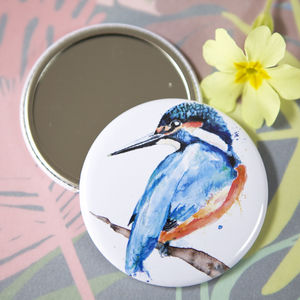 Inky Kingfisher Pocket Compact Mirror