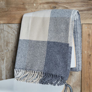 Cashmere Merino Check Throw