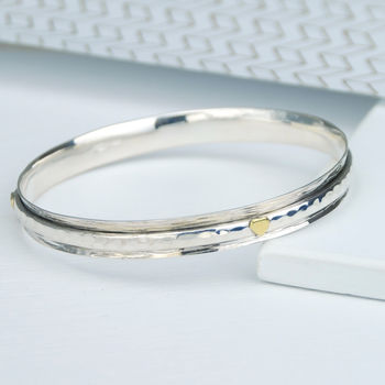 Devotion Hearts Sterling Silver Spinning Bangle