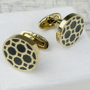 Round Gold And Black Geometric Steel Cufflinks