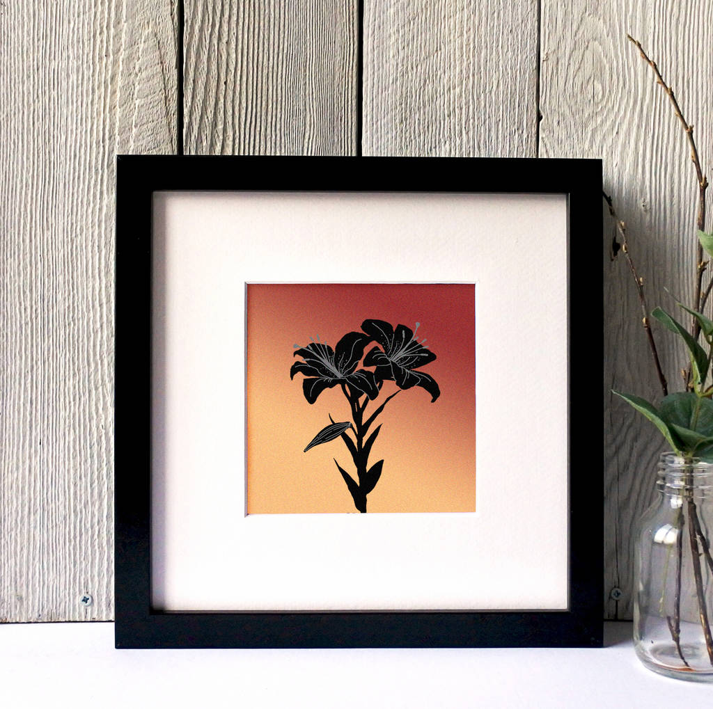 Tiger Lillies Silhouette Framed Print