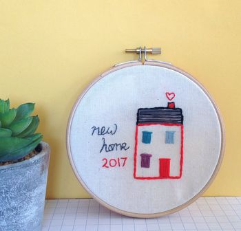 New Home Personalised Hand Embroidered Hoop