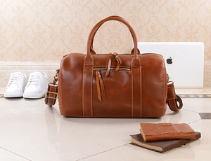 Personalised Leather Weekend Boarding Bag - mens