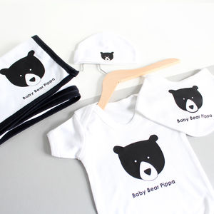 Personalised New Baby Gift Set, Baby Bear - clothing