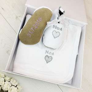 Personalised Heart Christening Gift Box - christening wear