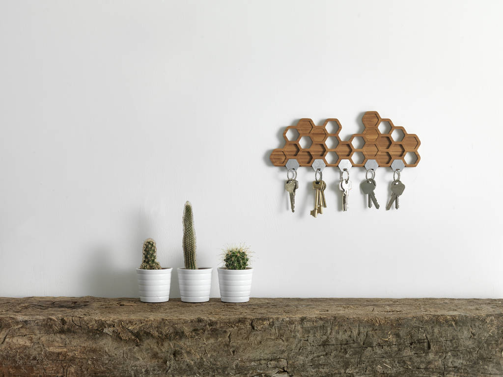 Bamboo Honeycomb Magnetic Key Holder And Storage Rack By