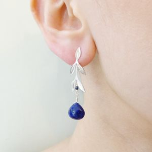 Silver Leaf And Lapis Lazuli Earrings