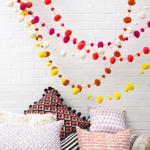 Wool Pom Pom Garland - children's room