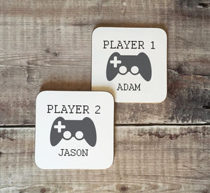Personalised Player One Player Two Video Game Coasters