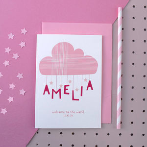Personalised Cloud And Stars New Born Card Pink - new baby cards