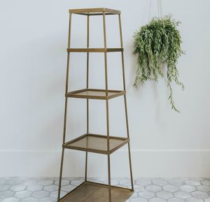 Brass Five Tier Display Shelf - living room
