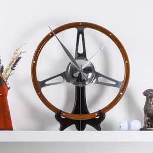 Classic Car Walnut Steering Wheel Desk Clock