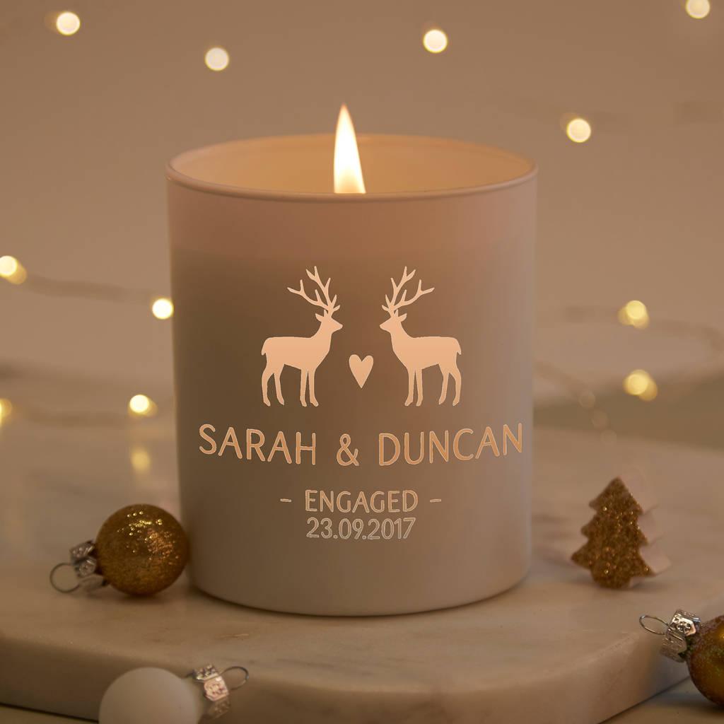 Engagement Gift Personalised Christmas Candle Keepsake By