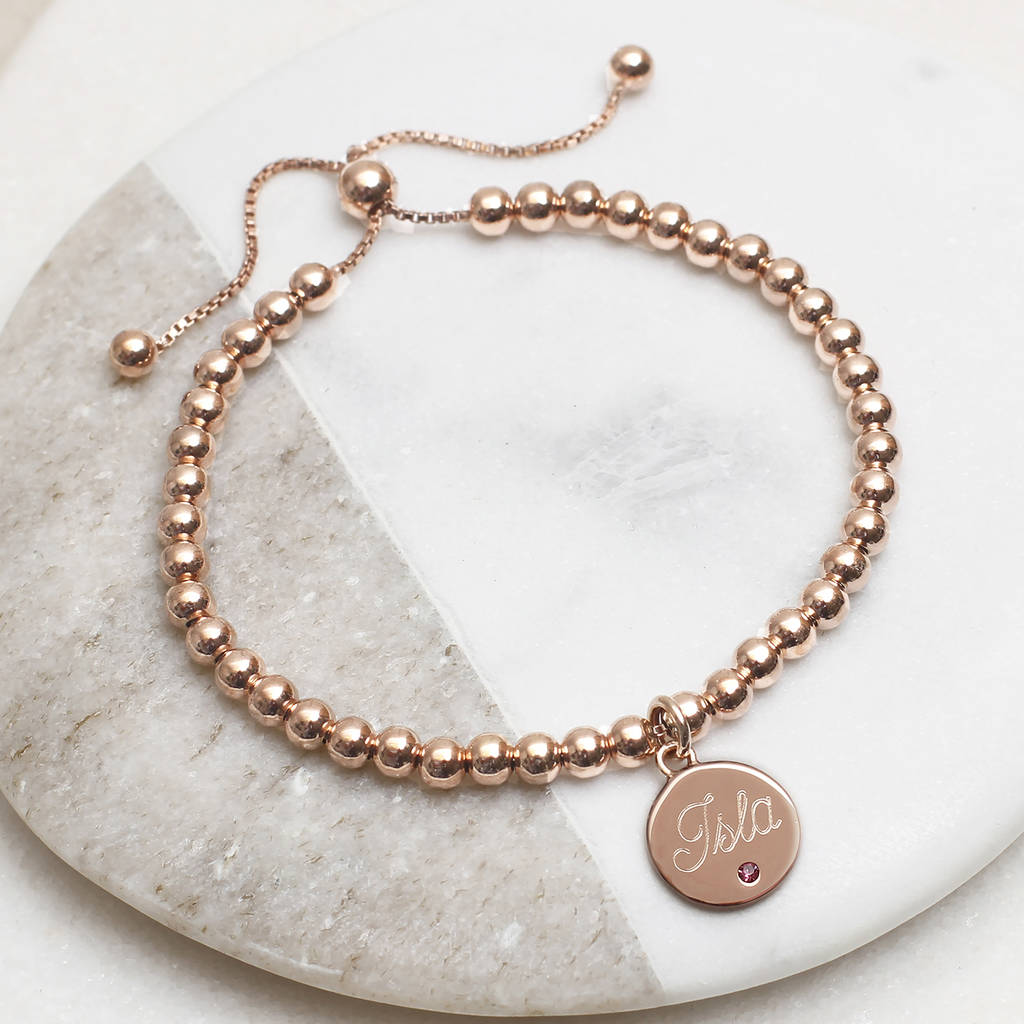 18ct Rose Gold Vermeil Birthstone Ball Slider Bracelet