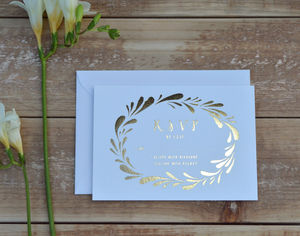 Flower Crown Foiled Wedding RSVP - rustic autumn wedding styling