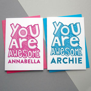You Are Awesome Card Personalised - congratulations cards