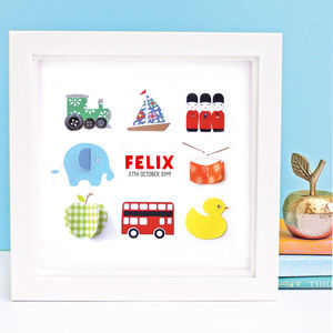 Personalised Baby Boy Collection Framed Artwork - mixed media & collage