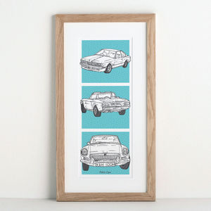 Personalised Car Trio Illustration - drawings & illustrations