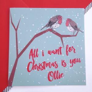Personalised Robins Christmas Card