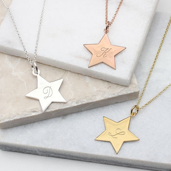 Personalised 18ct Gold Vermeil Star Initial Necklace