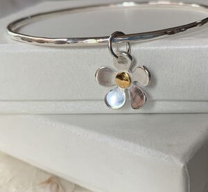 Silver And Gold Flower Charm Bangle