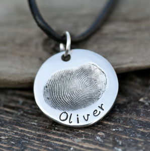 Fingerprint Coin Mens Chain - men's jewellery