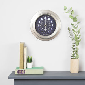 Personalised Constellations Moon Phase Clock - bedroom