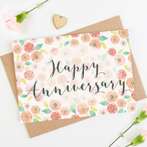 Floral Anniversary Card - wedding, engagement & anniversary cards