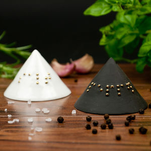 Minimalist Salt And Pepper Shakers With Braille - salt & pepper pots