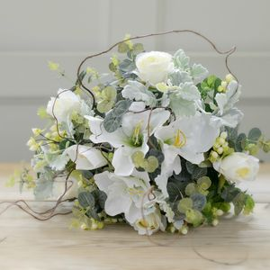 Luxury Silk White Garden Rose And Lily Bouquet - flowers & plants