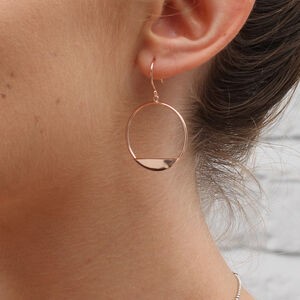 18ct Rose Gold Or Silver Modern Circle Earrings