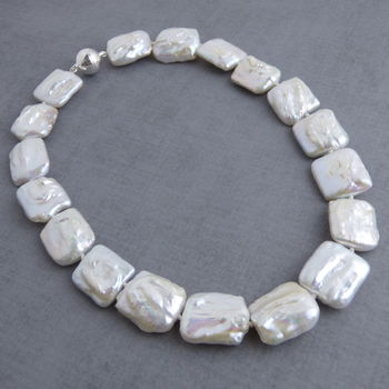 Chunky Square Pearl Necklace