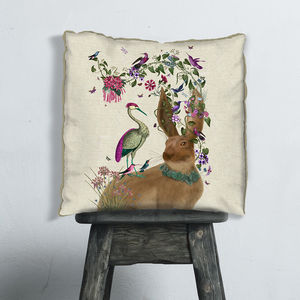 Woodland Hare And Heron Decorative Cushion - bedroom