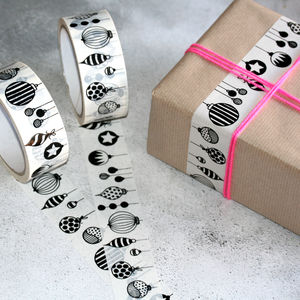Monochrome Christmas Baubles Decorative Sticky Tape - shop by category