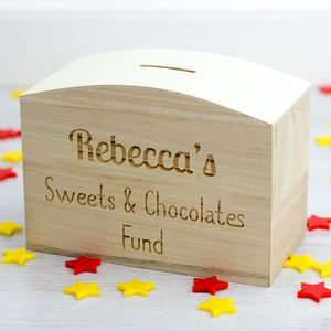 Personalised Sweets And Chocolates Fund Money Box - storage & organisers