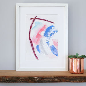 'Moment' Small Textured Blue And Pink Art Print