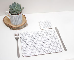Placemats With Monochrome Triangle Geometric Design
