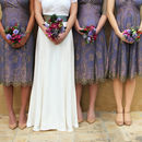 Bespoke Lace Bridesmaid Dresses In Bronze And Violet