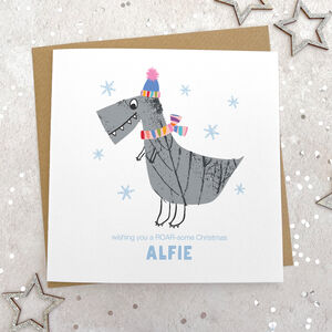 Personalised Festive Dinosaur Christmas Card