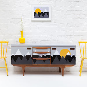 Scandi Inspired 'Mountains' Mid Century Sideboard - living room