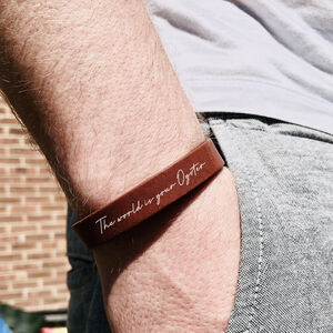 Personalised The World Is Your Oyster Leather Bracelet