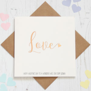 Personalised Rose Gold Foil 'Love' Card