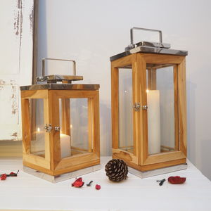 Reclaimed Wooden Candle Lantern - lights & lanterns
