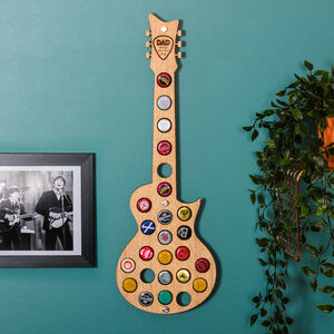 Personalised Guitar Beer Bottle Collector Wall Art