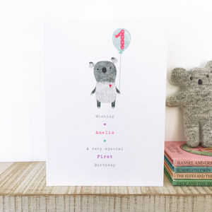 Personalised First Birthday Or Pick Your Age Koala Card - 1st birthday cards