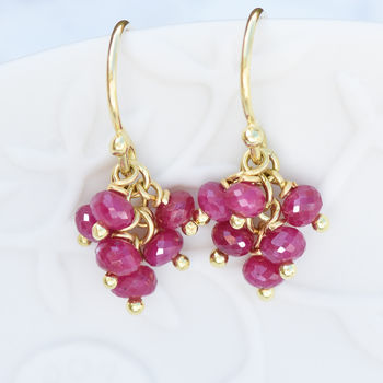 Ruby Cluster Earrings In Ethical 18ct Gold