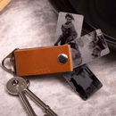 Men's Tan Leather Personalised Photo Keyring Gift